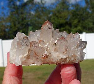 Clear-Quartz-ORANGE-RIVER-Crystal-Cluster-of-Points-w-Hematite-Phantoms-For-Sale