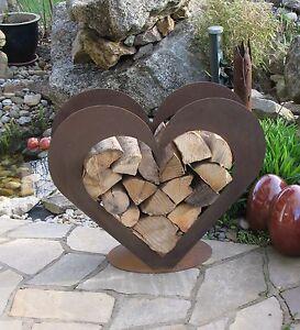 Herz aus Metall - Holz-Regal - Edel-Rost - Garten Terrasse - Deko ...