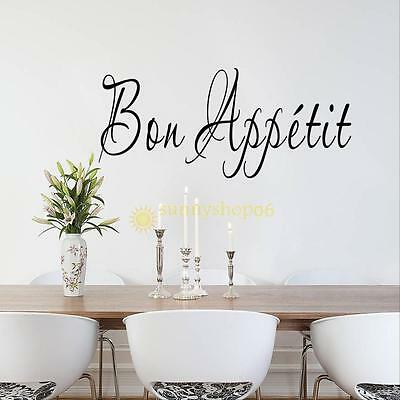 Removable Vinyl Wall Stickers Quote BON APPETIT Dinning Room Decor Decals Art