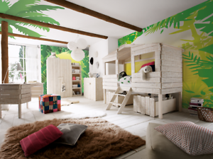 Kinderzimmer set tlg massiv holz weiß bett schrank kommode regal