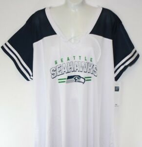 best website f9322 e42df NEW Womens NFL Apparel Seattle Seahawks V Neck Lace Up White ...