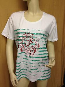 Damen-Shirt-T-Shirt-Oberteil-Gr-46-Weiss-gruen-rot-Streifen-Anker-von-Fashion-HL