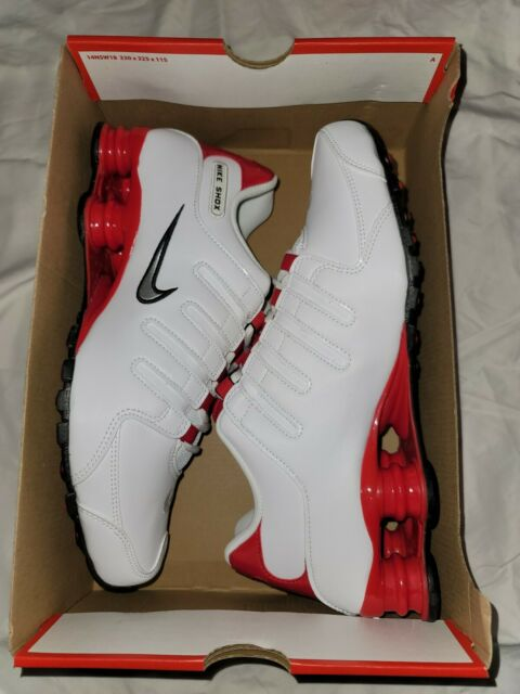 Nike Shox NZ Mens Athletic Shoes Size 9.5 White Metallic Silver Red 378341 110