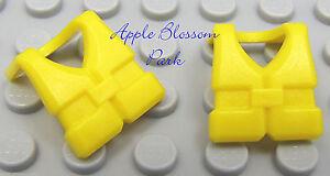 NEW Lot/2 Lego Minifig YELLOW LIFE JACKETS Sailor Ship & Boat Preserver Vest Set