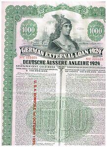 Deutsche-Aussere-Anleihe-1924-Dawes-Anleihe-1000-US-selten-mit-Kupons