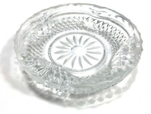 Vintage Ashtray Large Round Crystal. Clear Heavy Glass Cigarette. Flower Decor