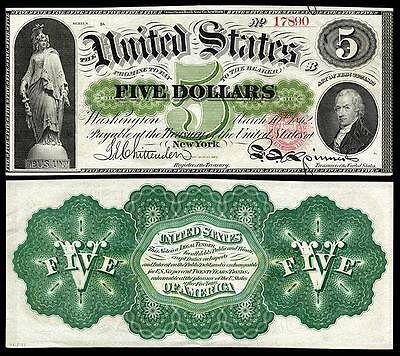 1862 U.S $5.00 GREENBACK BANK COPY NOTE NICE CRISP UNC READ DESCRIPTION