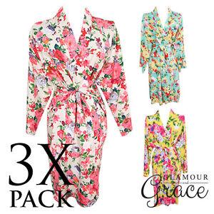 3-PACK-Bridal-Wedding-Bride-Bridesmaid-Floral-Vintage-Dressing-Gown-Robes-Cotton