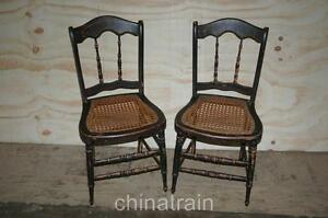 2-Antique-Cane-Seat-Spindle-Back-Chairs-Paint-Accents-1800s