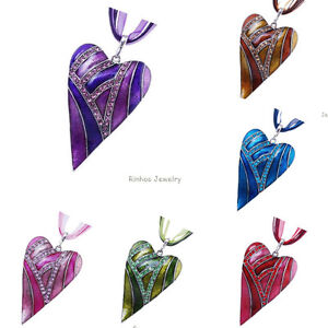 Hot-Charm-Fashion-Heart-Jewelry-Crystal-Chain-Statement-Women-Necklace-Pendant
