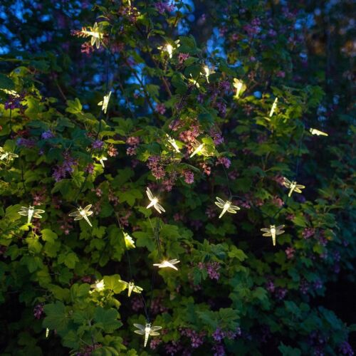 DRAGONFLY Solar Powered 20 LED Outdoor Garden String Party FAIRY Lights  Lamp New