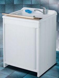 Mobile lavanderia bagno 60x60 armadio serranda pvc bianco for Armadio bagno bianco