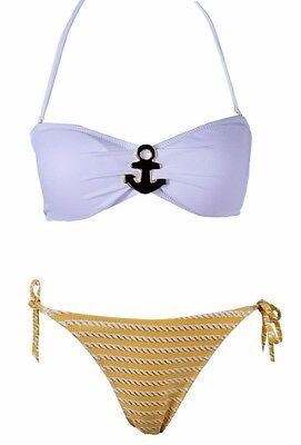 Nautical Theme Anchor Emblem 2 piece Bikini Swimsuit Padded Bandeau Top 3059
