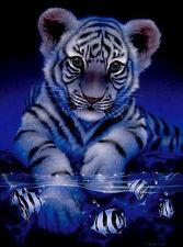 MIDNIGHT BLUE TIGER CUB CROSS STITCH CHART, BN!  (T010)