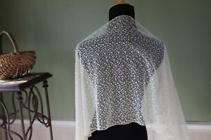 Vtg-Antique-French-Schiffli-Huge-Wide-Net-Lace-Panel-Dolls-Crafts-Veil-Shawl