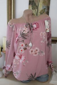 free shipping 540fa 22102 Details zu ITALY Chiffon BLUSE 2 Lagig Blumen Tunika Oversize Rosa Ballon  Bund 36 38 40