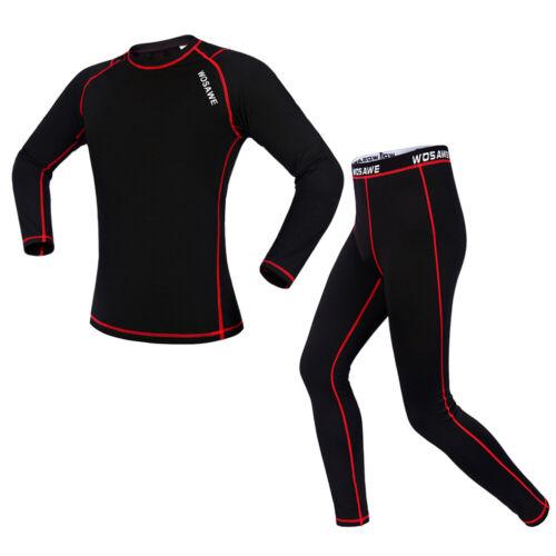 Men/'s Long Sleeve Underwear Thermal Fleece Base Layer Cycling Jersey Pants Set