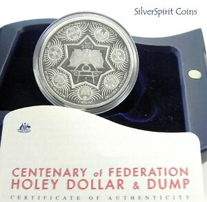 2001-CENTENARY-of-FEDERATION-HOLEY-DOLLAR-amp-DUMP-Silver-Proof-Coin