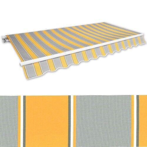 Markise Gelenkarmmarkise 3x2,5m gelb-grau Alu Handkurbel Sonnenschutz NEU