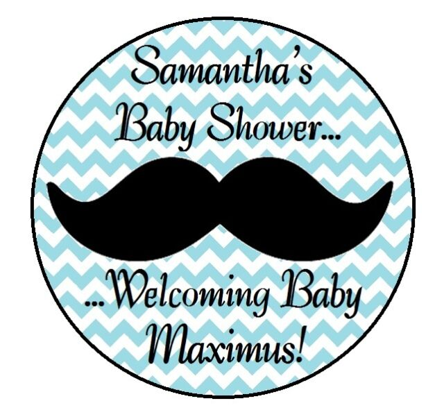 24 Mustache Personalized Little Man Baby Shower Party Stickers
