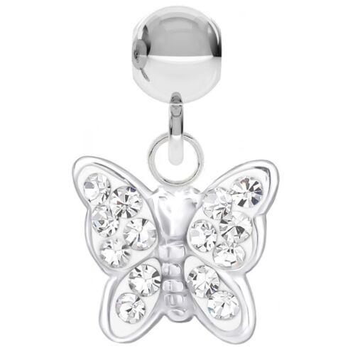 Anhänger für Armband oder Ketten 925 Echt Silber Kristall Schmetterling Charm