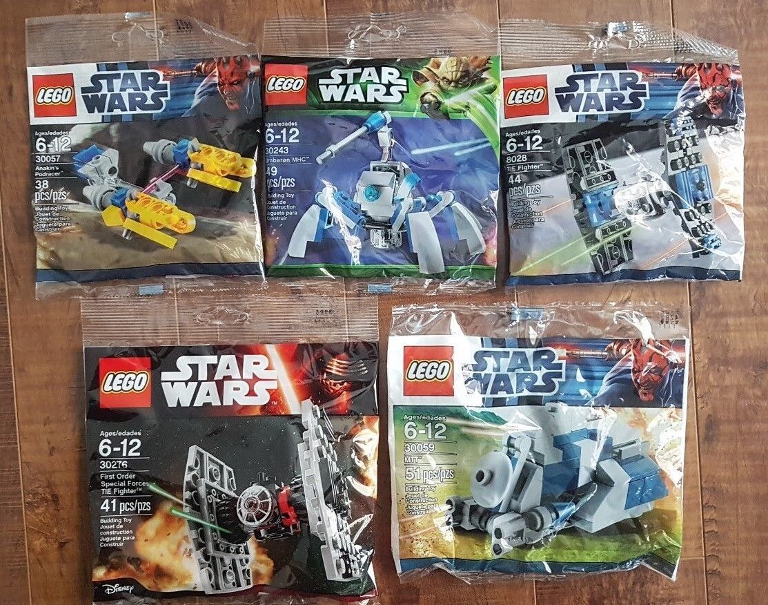 LEGO Star Wars 5 NEW SELAED Polybag LOT  8028 + 30057 + 30059 + 30243 + 30276