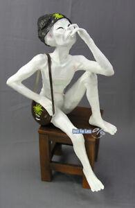 Alien Außerirdischer Sitzend Canabis Deko Dekoration Statue Figur Skulptur Neu