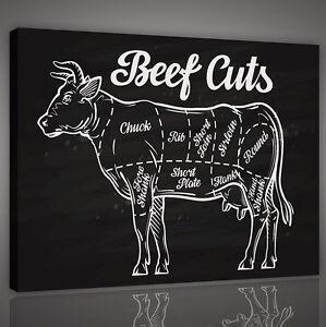CANVAS WANDBILD LEINWANDBILD POSTER Küche Tier Kuh Beef Fleisch ...