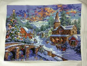 New-completed-finished-cross-stitch-Christmas-snow-Home-Decor-Gifts