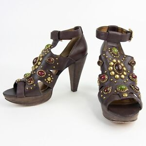 Vince-Camuto-Emily-8-5B-US-Leather-Brown-Jeweled-Open-Toe-Heels-Sandals-Pumps