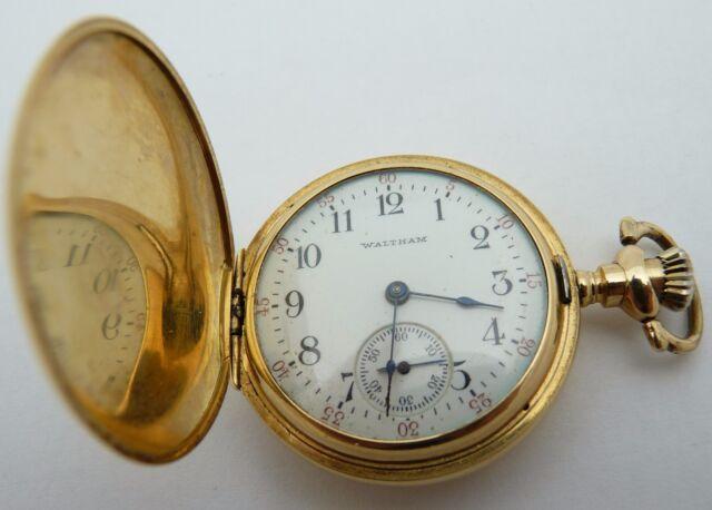 69fc3b78dc39a 1906 Waltham 14k Yellow Gold Double Hunter Case Pocket Watch - 15 Jewels