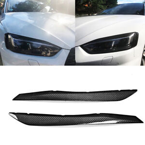 For-AUDI-A5-S5-RS5-2017-2018-Headlight-Cover-Eyebrow-Eyelid-Factory-Dry-Carbon