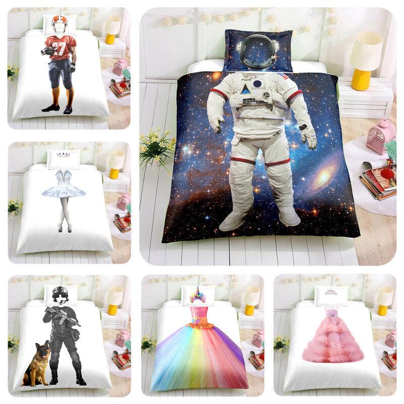 3D Kids Bedding Set Princess Astronaut Unicorn Rugby Quilt Cover Pillowcase Set