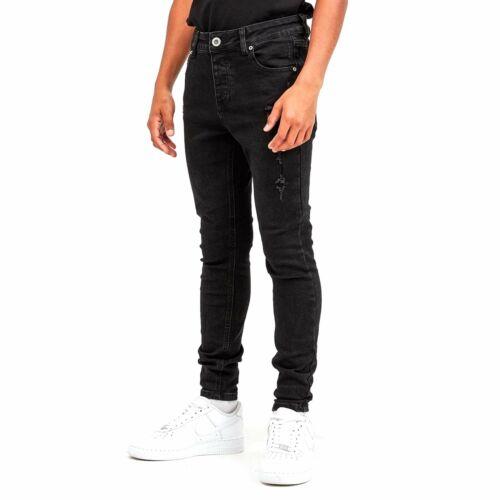 Rois ne rêve Junior luxmor Superfin Stretch Noir Délavé Déchiré Jeans J444