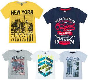Garcons-Neuf-en-coton-T-shirt-a-encolure-ras-du-cou-d-039-ete-Enfant-Top-2-3-4-5-6-7-8-9-10-11-12-13