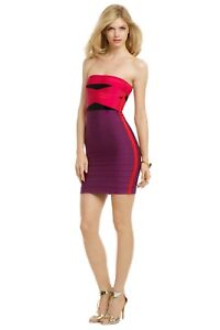 d8fed751c946 Image is loading Herve-Leger-Simone-Colorblock-Strapless-Bandeau-Bandage- Dress-