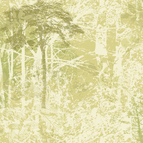 Dark Green Trees on Sage Green and White Tree Silhouettes Wallpaper NT8956