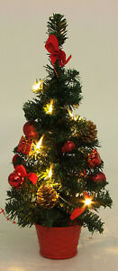 Kleiner Weihnachtsbaum Mit Beleuchtung.Details Zu Mini Weihnachtsbaum Tannenbaum Christbaum 45 Cm Rot Geschmuckt Mit Beleuchtung