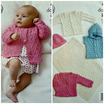 Baby Blanket Jackets /& Hat Double Knitting Pattern King Cole Cottonsoft DK 4430