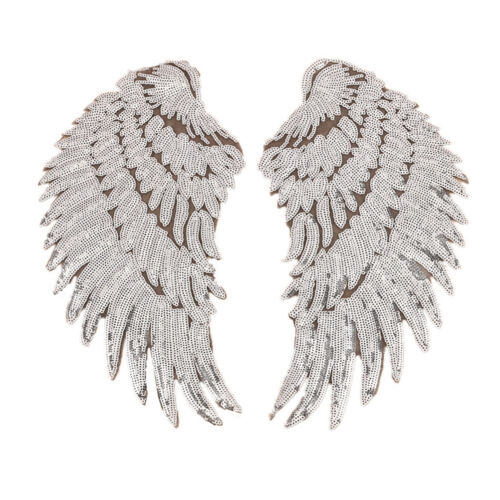 1pair wings angel sequins iron-on embroidered patch applique craft DIY UK ME