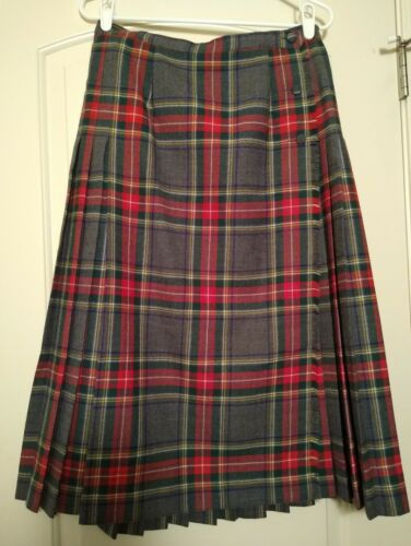 Aljean Size 14 Grey & Red Plaid Laine 100% Wool Wr