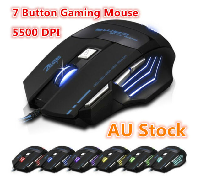 5500 DPI 7 Button LED Optical USB Wired Gaming Mouse Mice Pro Gamer PC Desktop