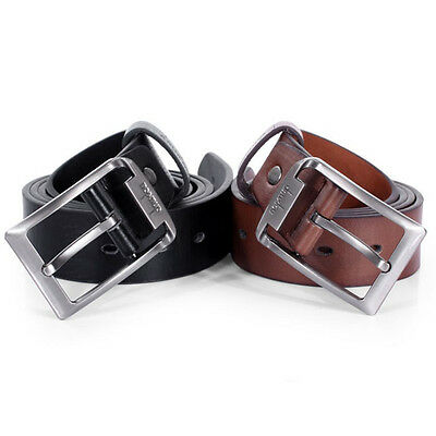 New Mens Leather Single Prong Belt Business Casual Dress Metal Buckle Excellent