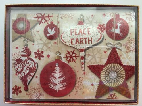 punch studio peace on earth 12 embellished christmas holiday cards