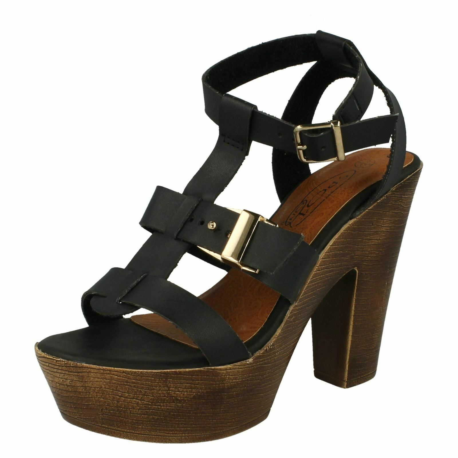 Ladies F10454 On Peep Toe T-Bar Sandals by Spot On F10454 - Sale Now 189780