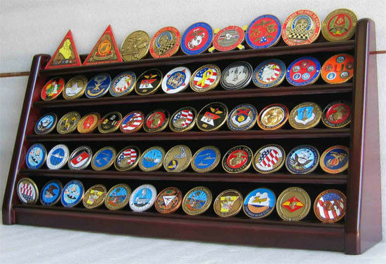 5 Row Military Challenge/Casino Coin Display Rack Case Cabinet Stand Coin5-MAH