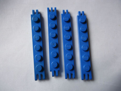 PART 4504 BLUE 1 x 6 HINGE PLATE WITH 2 AND 3 FINGERS ON ENDS x 4