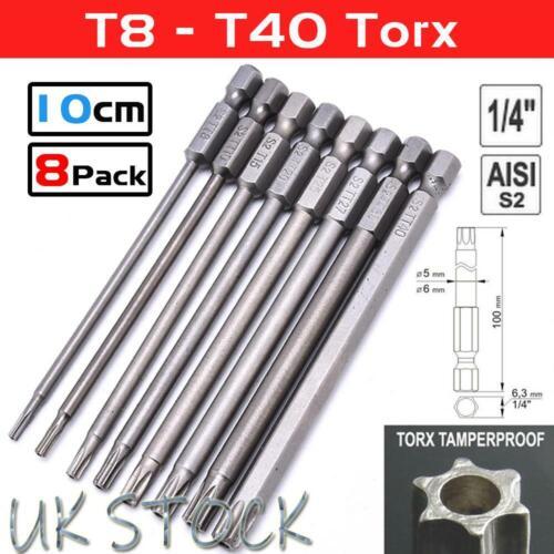 8pcs Torx Screwdriver Bit Hex Security Magnetic Head 100MM Long Bits Hex Set UK