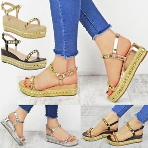 e8d2588f006 Image is loading Ladies-Womens-Studded-Low-Wedge-Espadrille-Sandals-Platform -