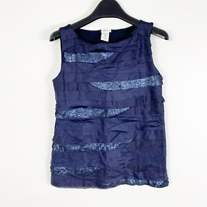 Crewcuts-Girls-Sleeveless-Navy-Blue-Sequin-Blouse-Shirt-Size-6-7